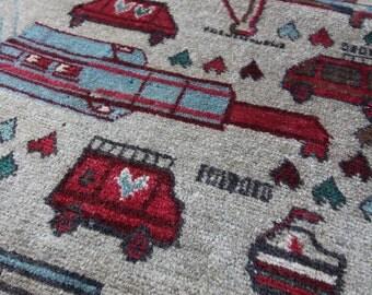 140 x 82 cm (4.6 x 2.7 ft) vintage carpet, Afghan rug, handmade, oriental rug, hand knotted, was old, wool, rug.