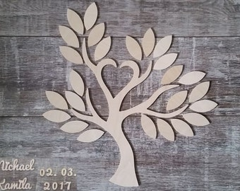 Wedding tree - guestbook wedding wedding tree from wood personalized type 9-25 guests