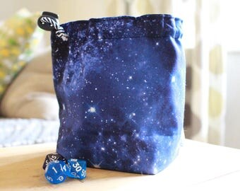 Night Sky Galaxy Drawstring Dice Bag, Game Bag - For Tabletop Gamers, Roleplayers, Dungeons and Dragons, Scrabble tiles, Carcassonne & more