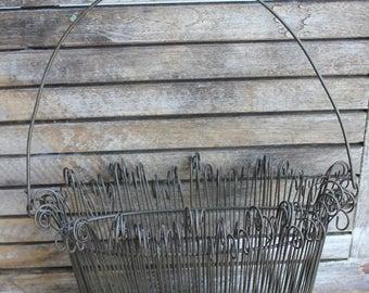 Vintage Black Hanging Wall Pocket, Basket, Planter