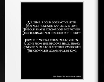 JRR Tolkien Quote Not All Who Wander Poetry Art Print, Lord of the Rings Picture, LOTR gift, All That is Gold Typography Print