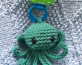 Baby Octopus Pacifier Plush Toy, Teal