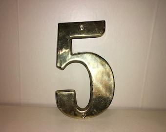 Vintage Gold #5 Repurposed Old House Address Number