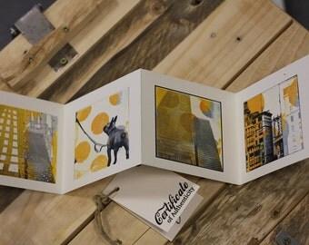 Mini Leporello yellow New York with cover, Guggenheim, city life, Yellow, Faltalbum, dog in New York, skyscraper, Pier 16, Brooklyn Bridge