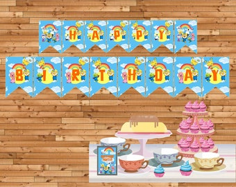Pororo and friends happy birthday banners bunting flag