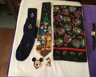 Mickey Mouse Disney treasures, ties, socks & pens!