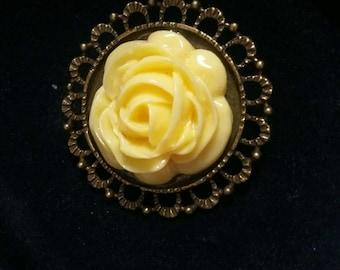 Yellow Rose vintage pendant