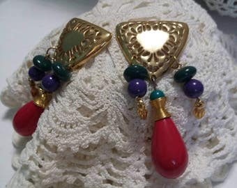Long Red green blue and gold vintage dangle pierced post earrings