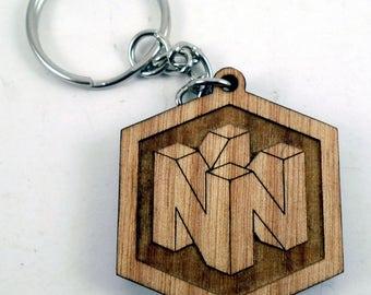 Nintendo 64 Logo Laser Engraved Wood Keychain