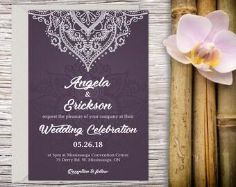 Classic Wedding Invitation with Setup, Indian Wedding, Henna Invitation, Hindu Wedding, Printable Wedding, Template, Wedding invitation