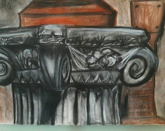 Charcoal still life on France BFK Rives paper, student piece