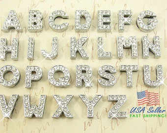 26pcs Slide Letters Charms Wholesale Full Rhinestone 8mm 1 Set A-Z (1 of each) Alphabet Rhinestone Slide Charm Letters