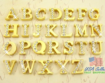26pcs Pick Choose Your Own Gold Slide Letters Charms Wholesale Half Rhinestone 8mm Chose Your Own A-Z Alphabet Rhinestone Slide Charm Letter
