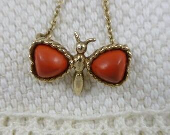 Antique Vintage Coral Butterfly Pendant - 9ct.  coral jewellery.  coral pendant. 9ct coral butterfly pendant.
