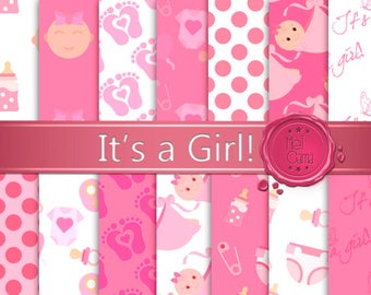 """Baby Digital Paper: """"IT'S A GIRL!"""" / Pink with designs, polka dots, pacifier and baby foot patterns for baby bath, birth, scrapbook."""