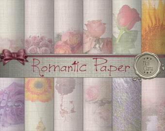 Romantic floral in digital paper / Notepaper for romantic floral scrapbooking, anniversary, Valentine / Flowers / Immediate Download