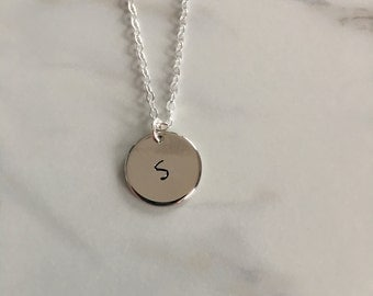 Personalized hand stamped silver disc