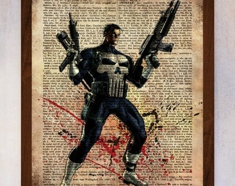Punisher poster, Punisher wall art, Vintage dictionary print, Punisher Wall Decor, Book Page Print, Dictionary Page Art, Illustration Art
