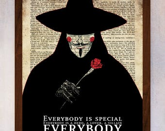 V for Vendetta poster, V for Vendetta wall art, Dictionary Page Print, Book Page Print, Dictionary Art, Illustration V for Vendetta Art