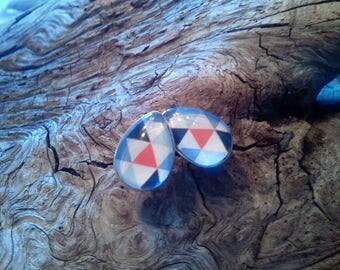 """Earrings, cabochon, shape of drop, 10 mm/14 mmstainless (hypoallergenic), """"geometric"""", orange/blue"""