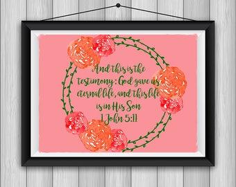 1 John 5:11 Bible Print *INSTANT DOWNLOAD*