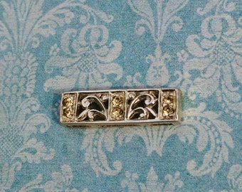 REDUCED!!  Sterling Silver with Pale Topaz Colored Swarovski Crystals Slide Links