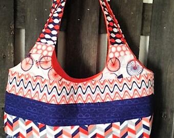 orange and blue purse