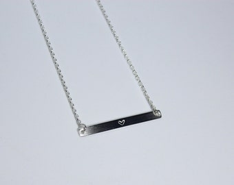 All about hearts sterling silver bar necklace