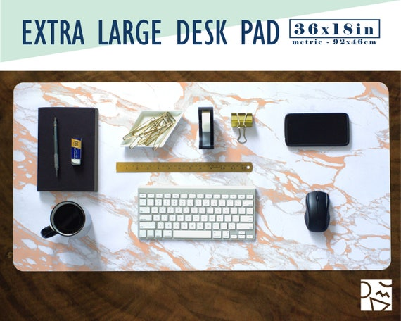 Rose Gold And White Marble Print Extra Large Desk Pad With