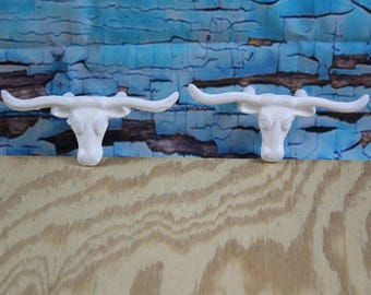 "Cast Iron Steer Skull Drawer Pull / wall Hook 4.75""W x 2"" H White (Lot of 2)"