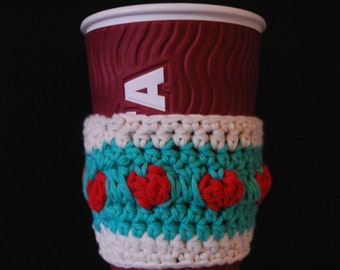 HANDMADE Crocheted Takeaway Cup Cosy with Loveheart design, 2 available