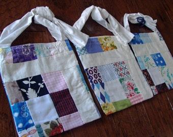 Upcycled Shoulder Bag, Repurposed Vintage Patchwork Quilt, HelloMissyArt