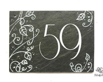 House number handpainted slate with a floral motif in white and silver with request number