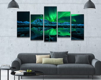 Aurora Borealis 5 Piece Framed Wall Canvas