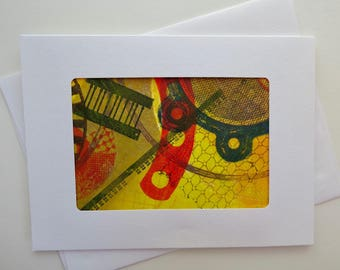 Greeting Card: #A12, made with an original monotype by Andi Warner