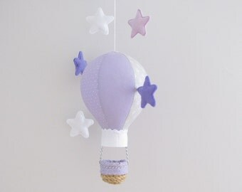 Baby mobile Hot air balloon - purple and grey