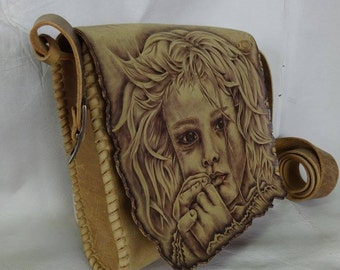 Leather bag, handmade, quality calf leather, pyrography