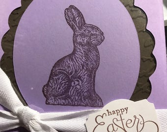 "Handmade ""chocolate"" bunny card."