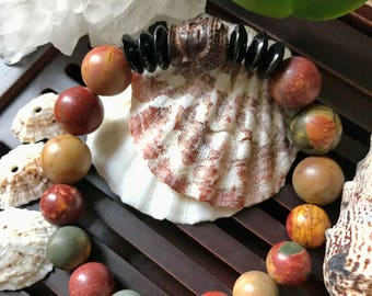 Buddha Bracelet. Picasso Jasper/Black Onyx Yoga Mala Beaded Bracelet. Healing Natural Gemstone Protection Mala. Meditation Bracelet.
