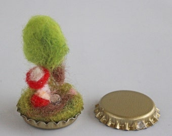 Crown Cap with felted miniature step, Grove with mushrooms.