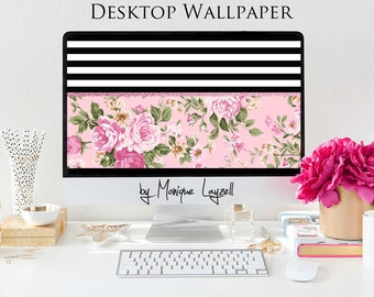 Black White Stripe with Pink French flowers Chic  Desktop wallpaper