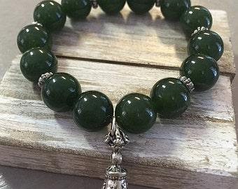 Jade and Tibetan Bell Charm Bracelet