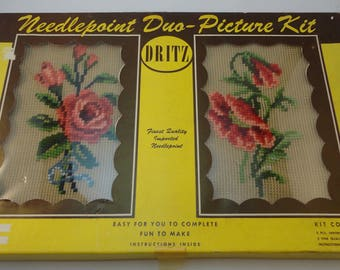 Dritz Preworked Needlepoint Kit, with Wood Frames and Glass, 2 Floral Designs