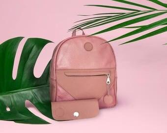 Leather backpack, pink backpack, yellow backpack, medium backpack, amazing backpack