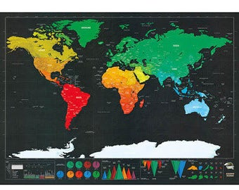 Custom Designed Scratch Off Map - With Scratch Off Tool - Large, Deluxe and filled with rich detail  :)