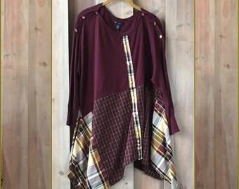 Burgundy Plaid Funky Tunic, Upcycled Clothing, Refashioned Clothing, Flowy Tunic,  Artsy Tunic, Lagenlook tunic, Women's Upcycled Clothes
