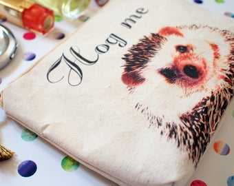 Hedgehog pouch, Hedgehog gifts, Hedgehog Purse, Hedgehog print, Cosmetic pouch, Zipper case, Cosmetic bag, Makeup bag, Gift for her