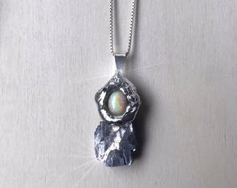 Rough Soldered Opal & Galena Pendant *chain  not included*