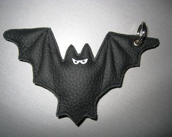 Bat Keychain black leather