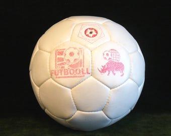 Vintage 1980s Futbooll Leather Soccer Ball Futbal